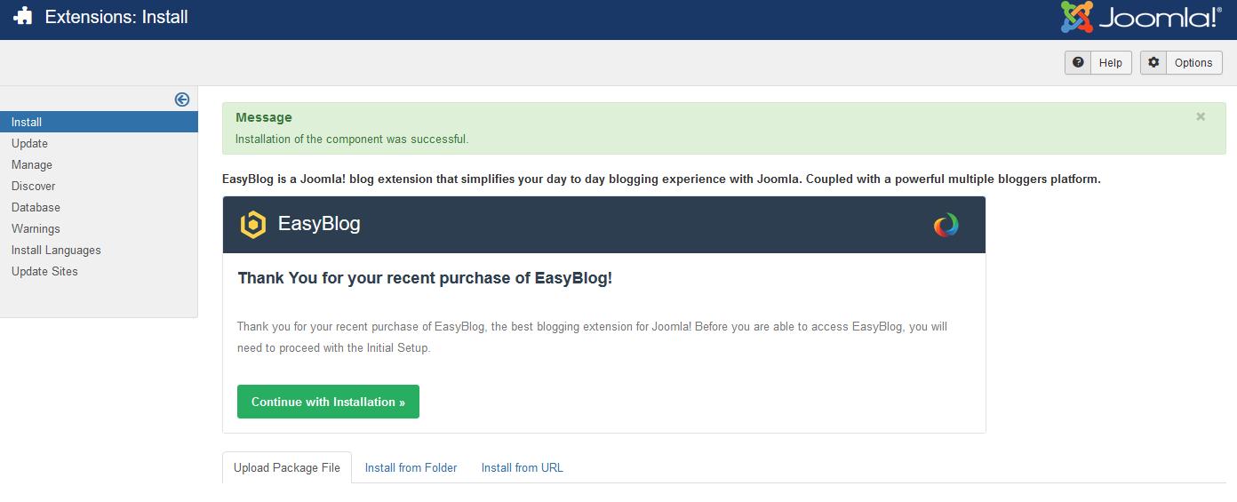 EasyBlog 5 Installation Success