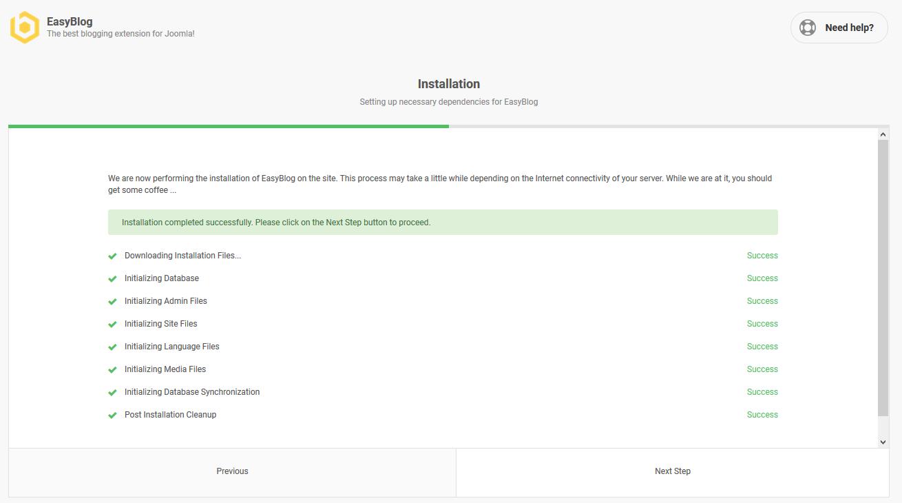EasyBlog 5 Installation Progress
