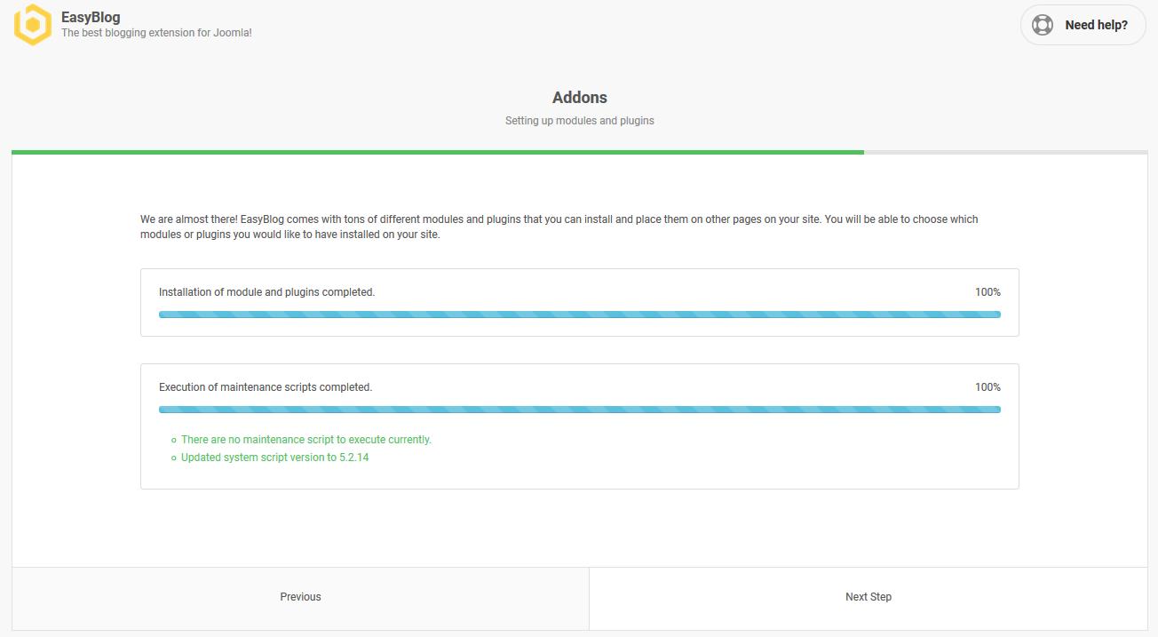 EasyBlog 5 Addons Installation Progress