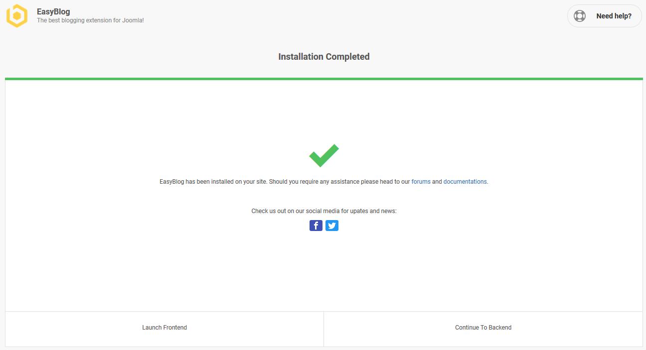 EasyBlog 5 Post Installation Progress