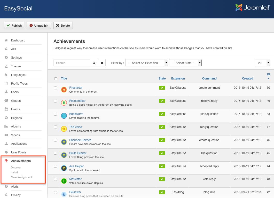 Achievements in EasySocial