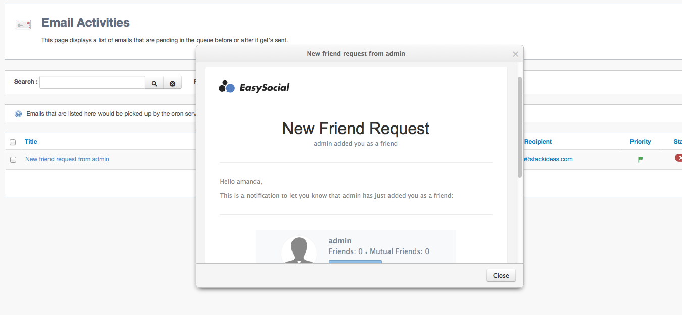 E-mail Preview in EasySocial