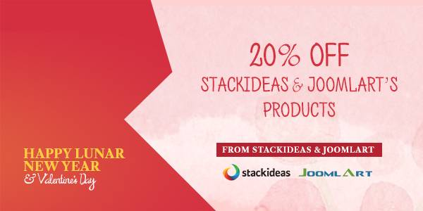 20% Off : Valentine's Offer On All JoomlArt and Stack Ideas's Product