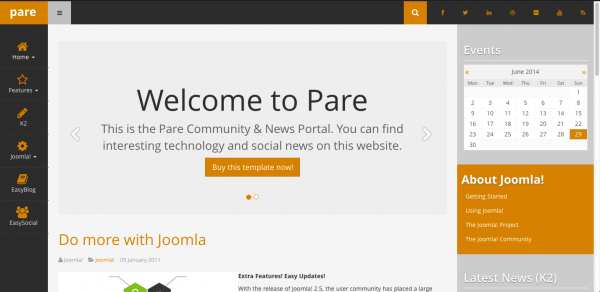 Pare - the latest Joomla template from Optimum Theme.